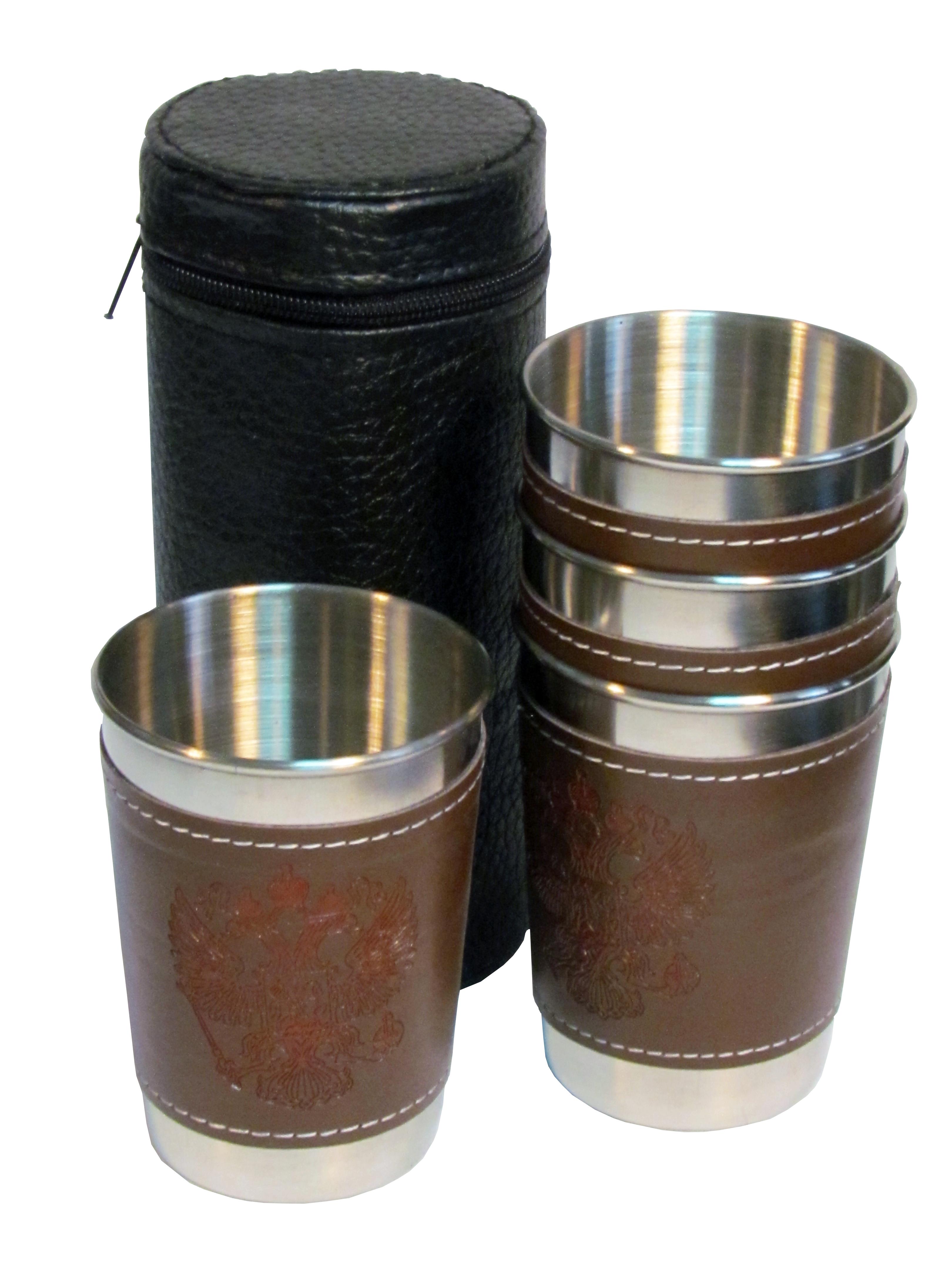 Набор стопок в чехле (коричневые с гербом РФ)