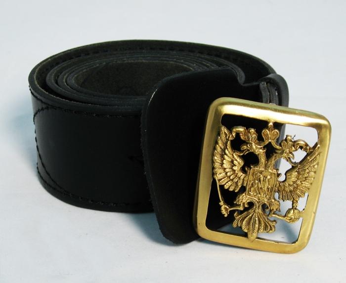 Ремень кожаный офицерский с литой бляхой Герб РФ
