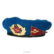 Берет-мини сувенирный голубой с кокардой и уголком