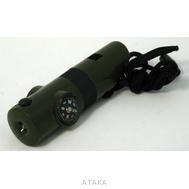 Свисток-набор для выживания 6-в-1 с фонариком